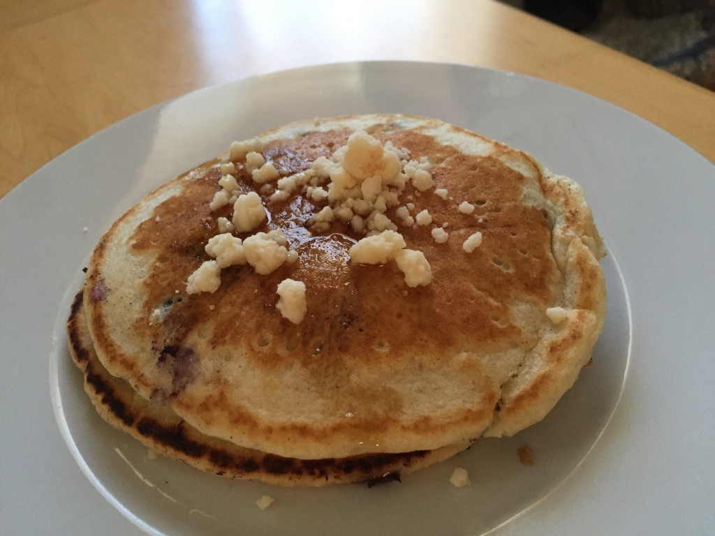 Blueberry pancakes with coconut butter and maple syrup